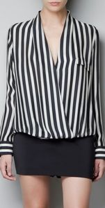 Black and white vertical stripe blouse